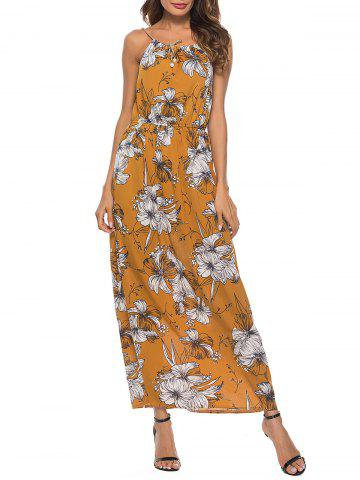 Latest Spaghetti Strap Floral Print Maxi Dress