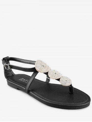 Affordable Buckle Strap Rhinestone Flat Heel Thong Sandals