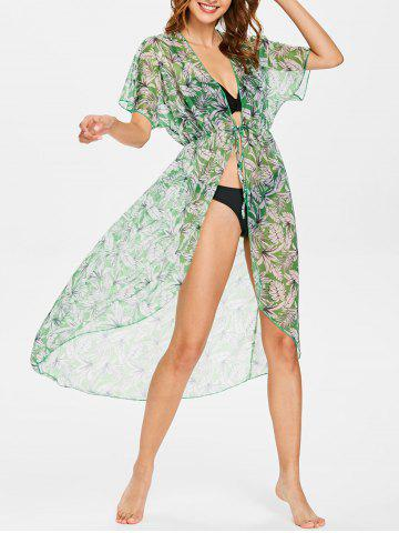 Store Leaf Batwing Sleeve Kimono Cover Up