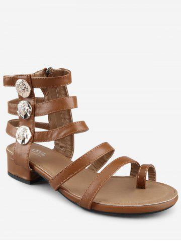Low Heel Gladiator Strappy Thong Sandals