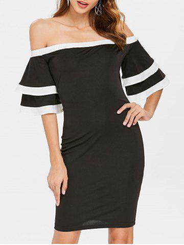 Trendy Off Shoulder Flare Sleeve Mini Party Dress