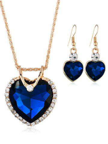 Sale Rhinestone Inlaid Crystal Heart Wedding Jewelry Set