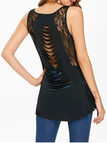 Fashion Lace Panel Distressed Tank Top