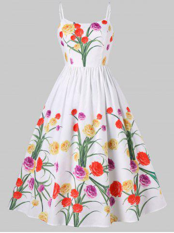Spaghetti Strap Vintage Floral Dress - White - L