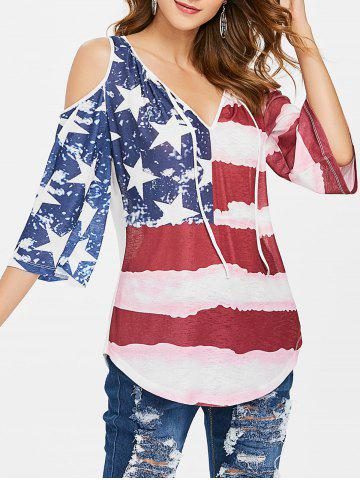 Affordable American Flag Tie Up Open Shoulder Top