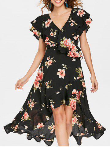 Affordable Floral Flounced Dress