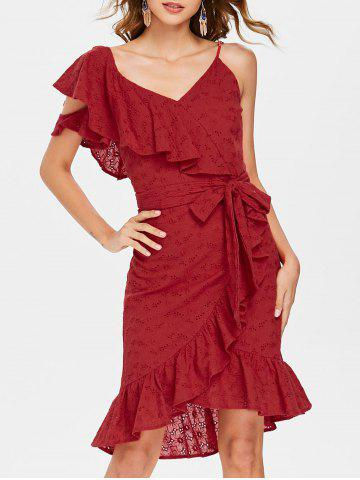Outfits Ruffle V Neck Tie Waist Broderie Wrap Dress