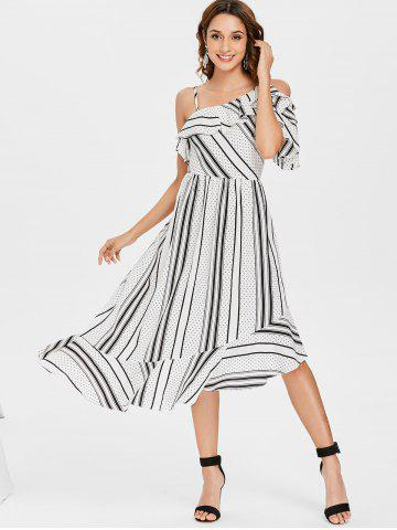 Striped Polka Dot Asymmetric Ruffle Dress