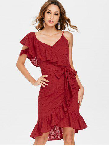 Ruffle V Neck Tie Waist Broderie Wrap Dress