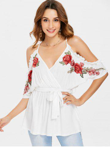 Embroidered Trim Belted Surplice Blouse