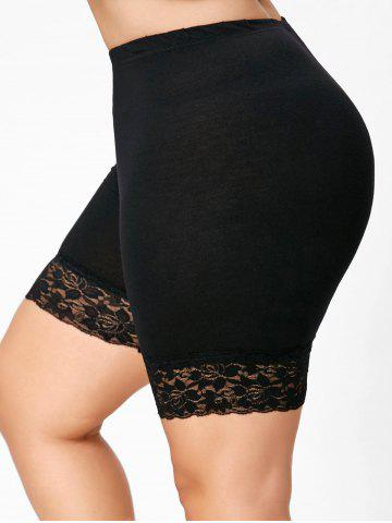 Plus Size Lace Trim Short Leggings - BLACK - 5XL