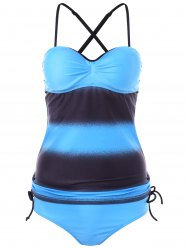 Push Up Two Tone Tankini Set -