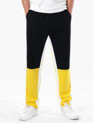 Drawstring Pocket Color Block Pants -