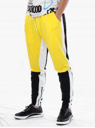 Drawstring Side Zip Hem Color Block Jogger Pants -
