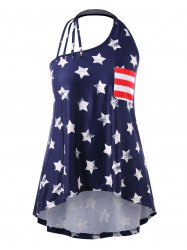 Plus Size American Flag Strappy Halter Tank Top -