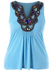 Plus Size Ethnic Embroidery Tank Top -