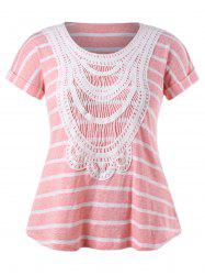 Plus Size Ethnic Crochet Striped T-shirt -