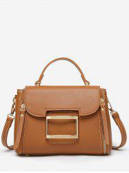 Top Handle Faux Leather Flapped Handbag -