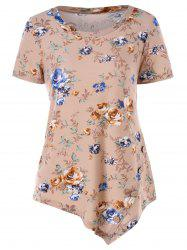 Short Sleeve Floral Print Asymmetrical T-shirt -