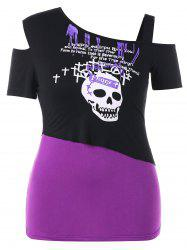 Plus Size Skew Collar Skull T-shirt -