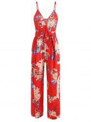 Floral Slit Wrap Wide Leg Jumpsuit -