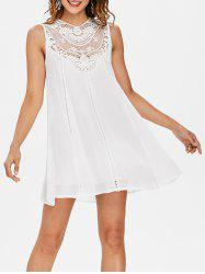 Crochet Insert Sleeveless Shift Dress -
