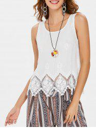 Scalloped Hem Lace Panel Tank Top -