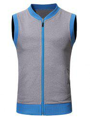 Pocket Full Zip Color Block Summer Vest -