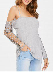 Open Shoulder Criss Cross Lace Panel T-shirt -