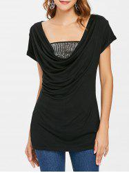 Cowl Neck T-shirt and Sequined Tube Top -