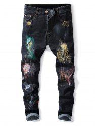 Destroyed Zipper Fly Colorful Paint Jeans -