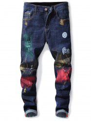 Distressed Letter Applique Paint Print Jeans -