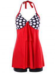 Open Back Polka Dot Tankini Set -