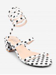 Polka Dot Ankle Strap Block Heel Sandals -