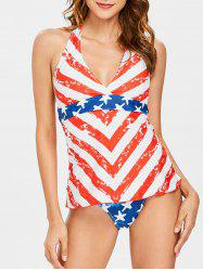 Patriotic American Flag Backless Tankini Set -