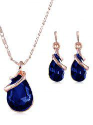 Retro Faux Gem Inlaid Pendant Necklace and Earrings -