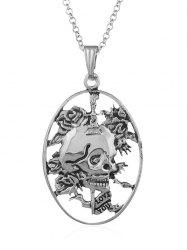 Carved Skull Decorative Pendant Necklace -