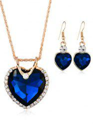 Rhinestone Inlaid Crystal Heart Wedding Jewelry Set -