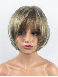 Short Side Bang Colormix Straight Bob Synthetic Wig -