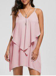 Overlay Crescent Hem Slip Dress -
