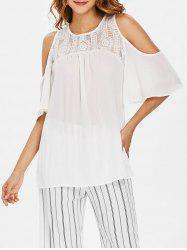 Open Shoulder Lace Insert Blouse -