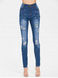 Beaded High Waisted Ripped Jeans -