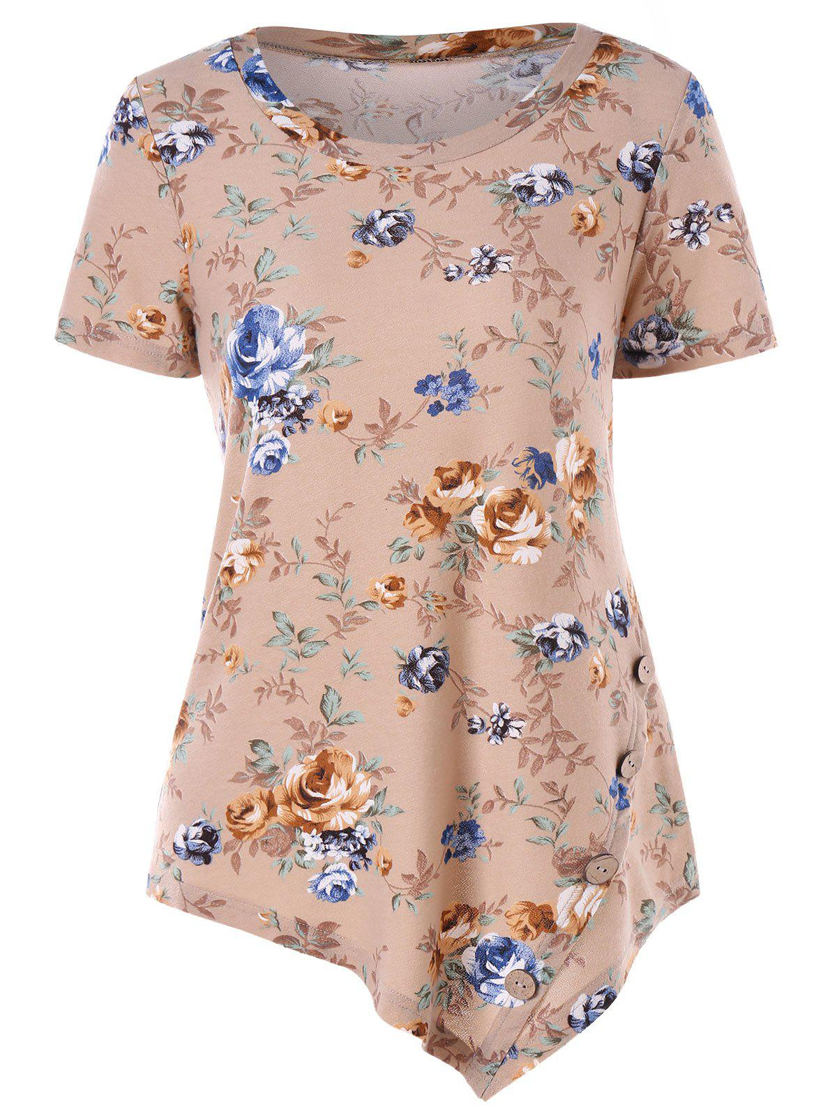 Chic Short Sleeve Floral Print Asymmetrical T-shirt