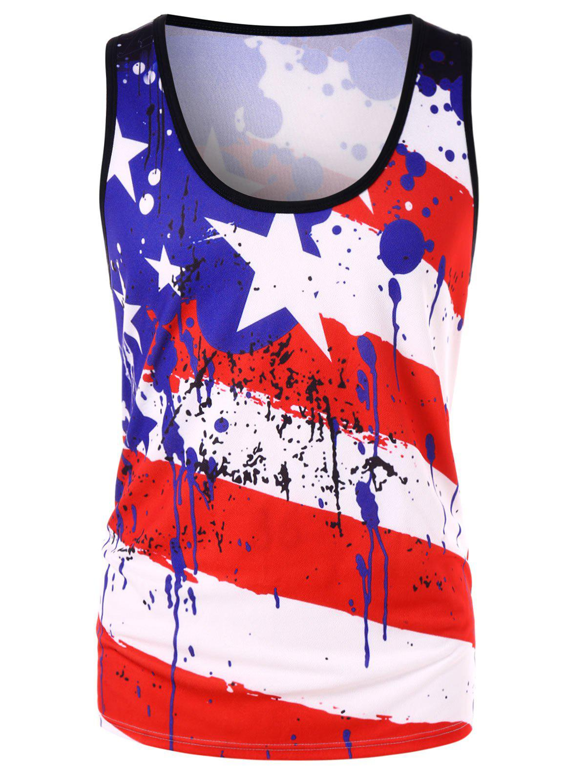 Outfit Stars and Stripes Paint Splash Print Tank Top