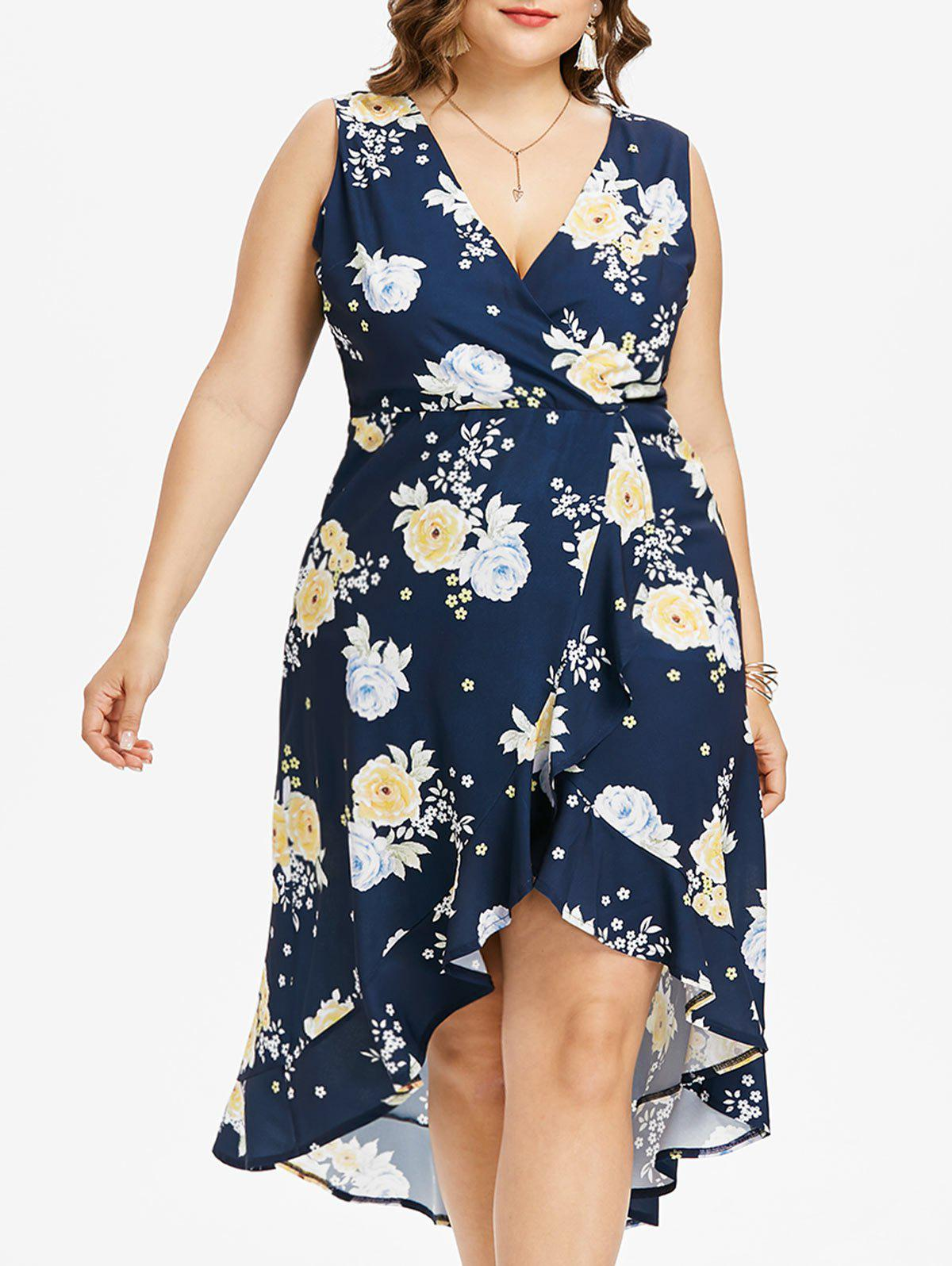 Sale Plus Size Sleeveless High Low Floral Dress