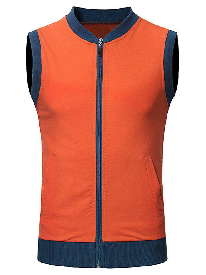 Fancy Pocket Full Zip Color Block Summer Vest