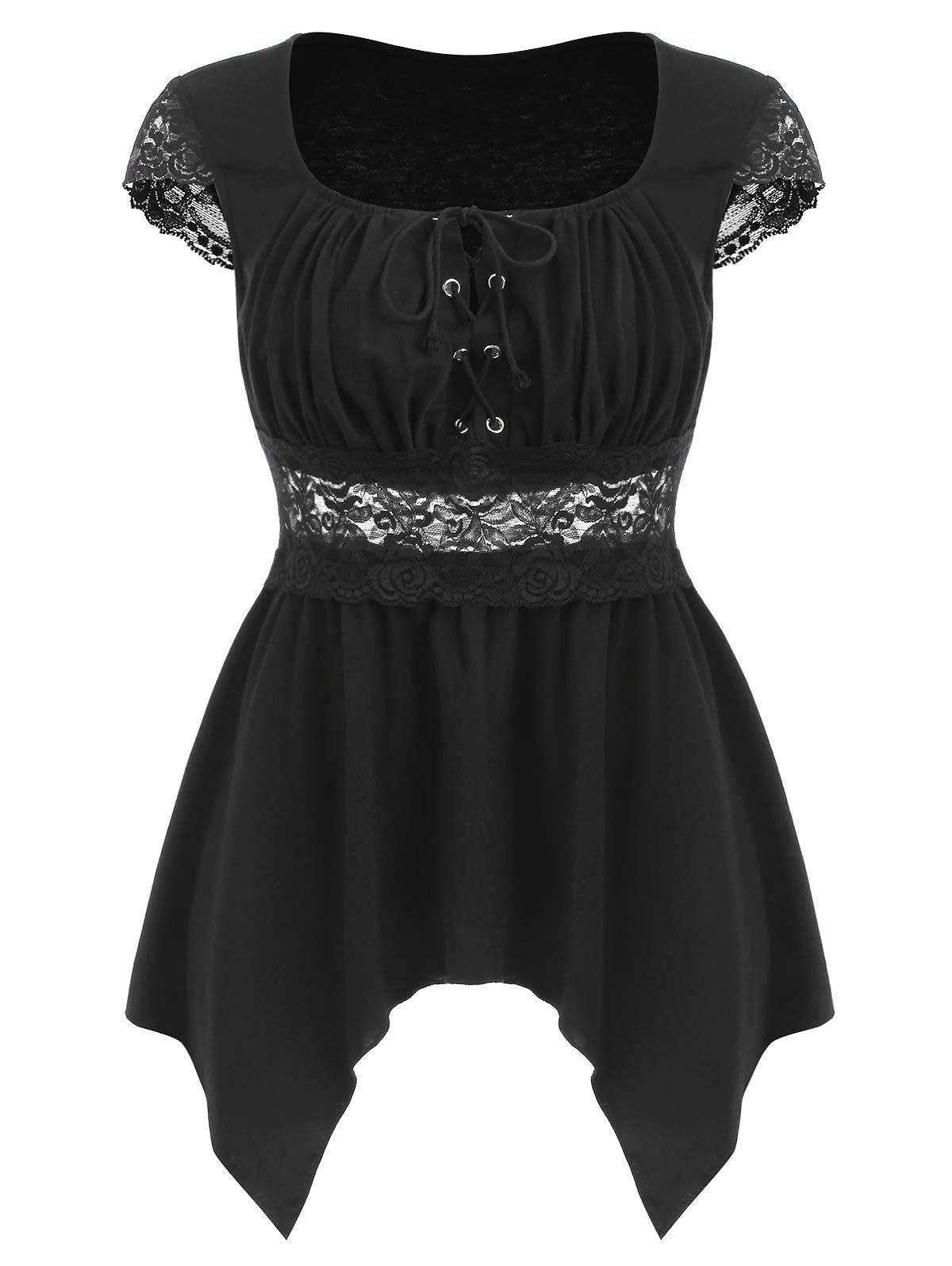 Chic Lace Panel Lace Up Asymmetrical Top