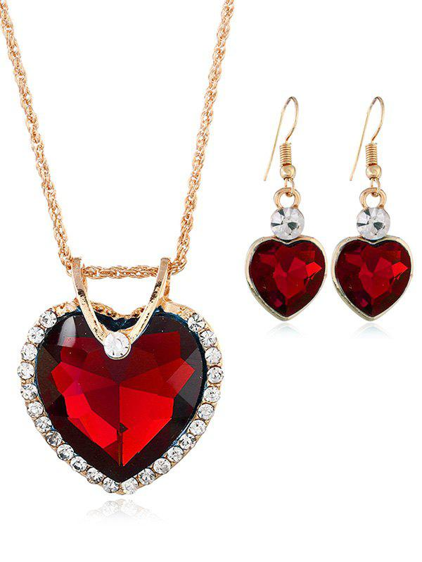 Chic Rhinestone Inlaid Crystal Heart Wedding Jewelry Set