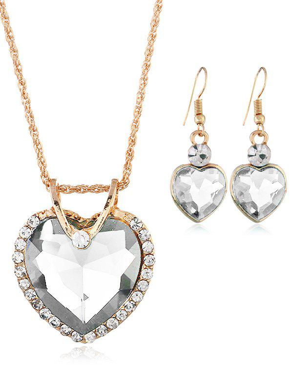 Best Rhinestone Inlaid Crystal Heart Wedding Jewelry Set
