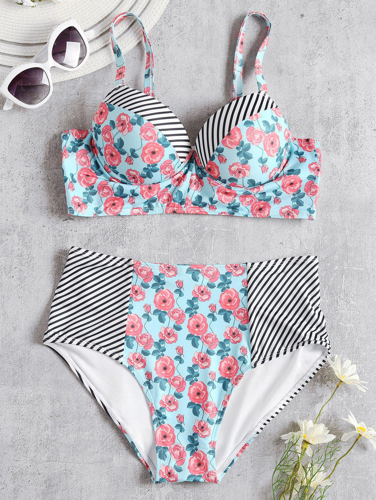Trendy High Waist Floral Stripe Bikini